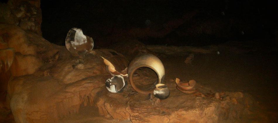 Maya ceremonial artifacts ATM Cave