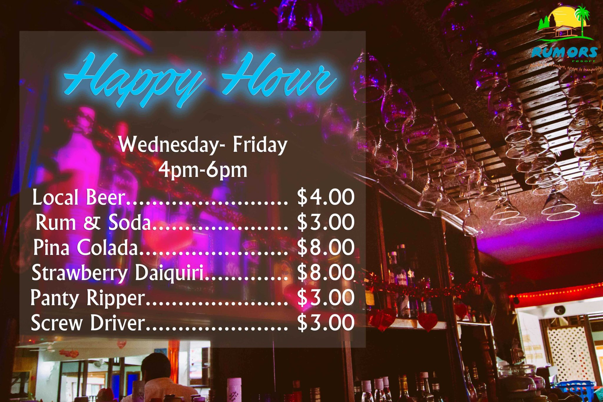 Rumors Resort-Belize-Happy-Hour-Special-Prices-and-Drinks